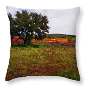 Texas Wildflowers Throw Pillow by Tamyra Ayles