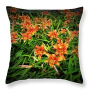 Texture Drama Field Of Tiger Lilies Throw Pillow
