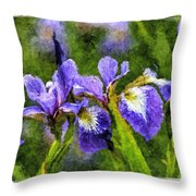 Textured Bearded Irises Throw Pillow