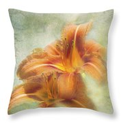 Textured Daylilies  Throw Pillow