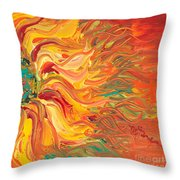 Textured Fire Sunflower Throw Pillow