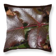 Textured Leaves Throw Pillow