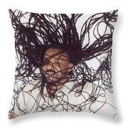 Textured Locs Throw Pillow