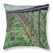 Textured New River Gorge Bridge Throw Pillow