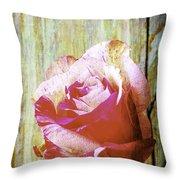 Textured Pink Red Rose Throw Pillow
