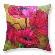 Textured Poppies Throw Pillow