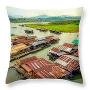 Thai Floating Village Throw Pillow
