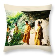 Thai Monks Throw Pillow