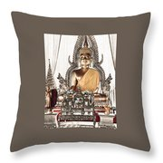 Thailand Gold Buddha Throw Pillow