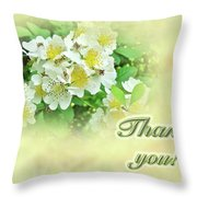 Thank You Card - Multiflora Roses Throw Pillow