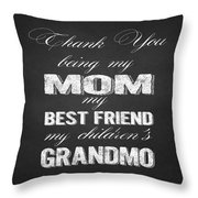 Thank You Mom Chalkboard Typography Throw Pillow