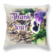 Thank You Pansy Throw Pillow