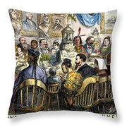 Thanksgiving Cartoon, 1869 Throw Pillow