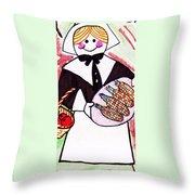 Thanksgiving Lady Pilgrim Throw Pillow