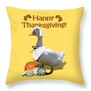Thanksgiving Pilgrim Duck Throw Pillow