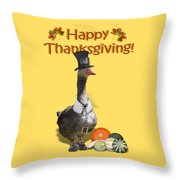 Thanksgiving Pilgrim Goose Throw Pillow