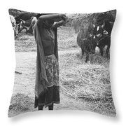 Tharu Rice Winnow Throw Pillow