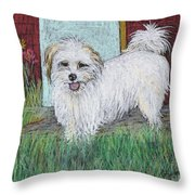 That Little White Dog Throw Pillow