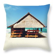 Thatched Roof Cottage/shack On A Perfect White Sand Tropical Beach Bali, Indonesia Throw Pillow