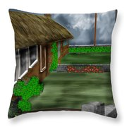 Thatched Roof Cottages In Ireland Throw Pillow