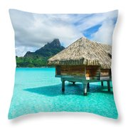 Thatched Roof Honeymoon Bungalow On Bora Bora Throw Pillow