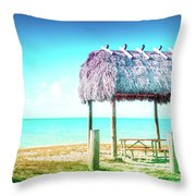 Thatched Roof Hut On Beach Throw Pillow