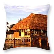 Thatched Roof Placencia Throw Pillow