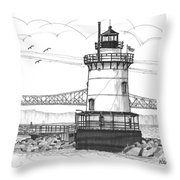 The 1883 Lighthouse At Sleepy Hollow Throw Pillow by Richard Wambach