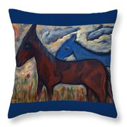 The 1st Mexican Ponies Throw Pillow
