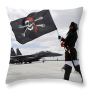 The 428th Fighter Squadron Buccaneer Throw Pillow by Stocktrek Images