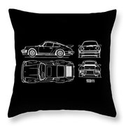 The 911 Turbo Blueprint Throw Pillow