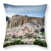 The Acropolis - Athens Greece Throw Pillow
