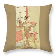 The Actor Segawa Kikunojo II, Possibly As Princess Ayaori In The Play Ima O Sakari Suehiro Genji  Throw Pillow