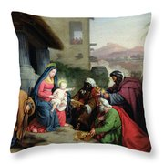 The Adoration Of The Magi Throw Pillow by Jean Pierre Granger