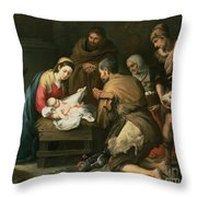 The Adoration Of The Shepherds Throw Pillow by Bartolome Esteban Murillo