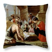 The Adoration Of The Shepherds Throw Pillow by Louis Le Nain