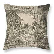 The Adoration Of The Shepherds: With The Lamp Throw Pillow