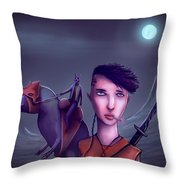The Adventures Of Punk Sword Girl And The Dragon Rabbit  Throw Pillow