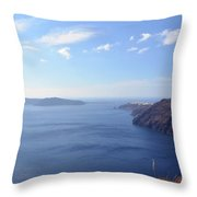 The Aegean Sea In The Volcanic Are Of Santorini, Greece Throw Pillow