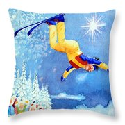 The Aerial Skier 18 Throw Pillow