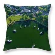 The Aerial View Of The Marina Of Mamaroneck Throw Pillow