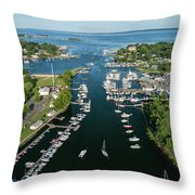 The Aerial View To The Mamaroneck Marina, Westchester County Throw Pillow