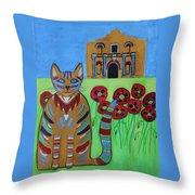 the Alamo Cat Throw Pillow