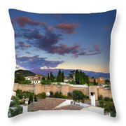 The Alhambra Palace And Albaicin At Sunset Throw Pillow