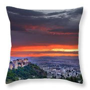 The Alhambra And Granada City Throw Pillow