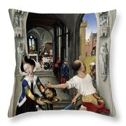 The Altar Of St. John, Right Panel Throw Pillow