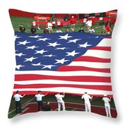 The American Flag Throw Pillow by Allen Beatty
