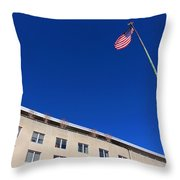The American Flag At The United States Department Of State Throw Pillow