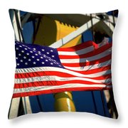 Tribute To The American Flag Oil Industry Throw Pillow