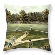The American National Game Of Baseball Grand Match At Elysian Fields Throw Pillow by Currier and Ives